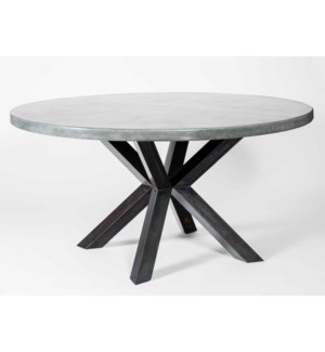 "Jordan Dining Table with 60"" Round Acid Washed Zinc Top"