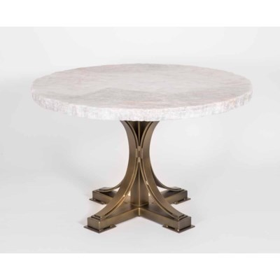 """Winston Dining Table in Antique Gold with 48"""" Round Live Edge Marble Top"""