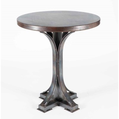 "Winston Bar Table with 36"" Round Dark Brown Hammered Copper Top"