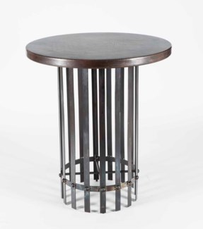 """Ashton Bar Table with 36"""" Round Dark Brown Hammered Copper Top"""