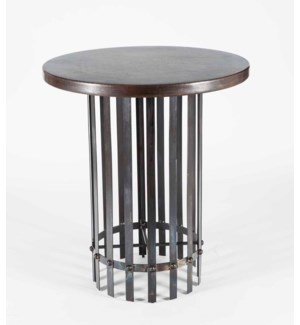 "Ashton Bar Table with 36"" Round Dark Brown Hammered Copper Top"