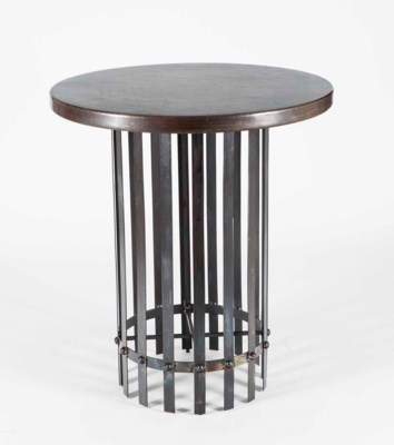 "Ashton Bar Table with 42"" Round Dark Brown Hammered Copper Top"