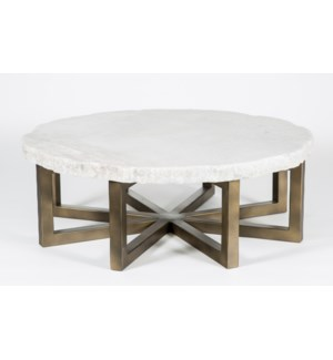 "Dominic Coffee Table with 48"" Round Live Edge Marble Top"