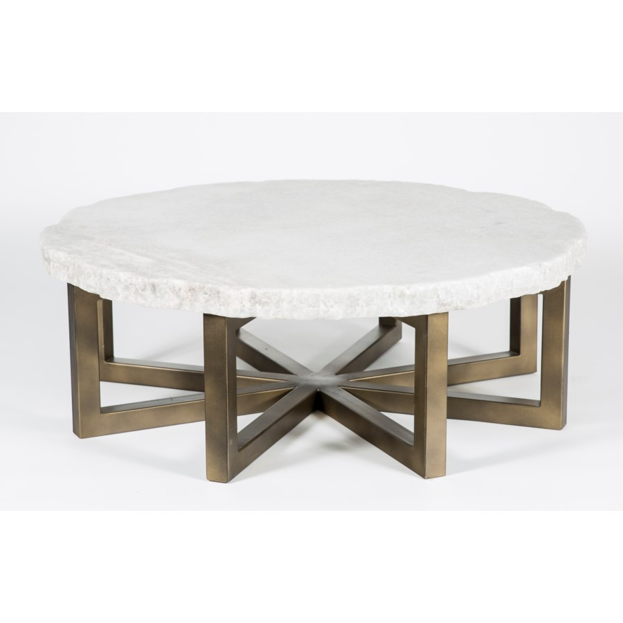 """Dominic Coffee Table with 48"""" Round Live Edge Marble Top"""