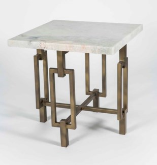 Elliot Side Table in Antique Gold with Live Edge Marble Top