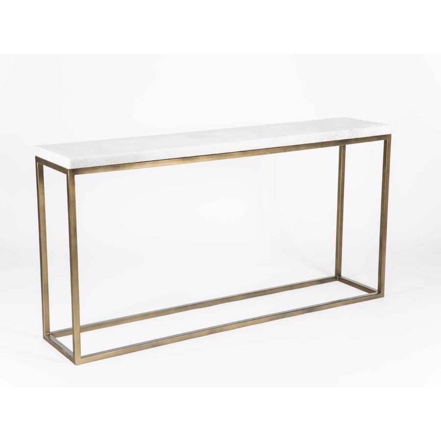 Brandon Console Table in Antique Gold with Straight Edge Polished Marble Top