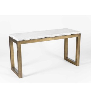 Chester Console Table in Antique Gold with Live Edge Marble Top