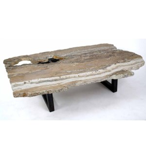 Julian Cocktail Table with Live Edge Natural Colored Onyx Top