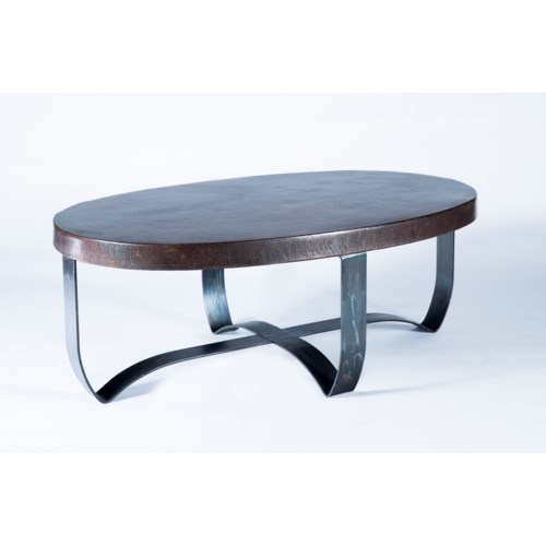 Oval Strap Cocktail Table with Dark Brown Hammered Copper Top