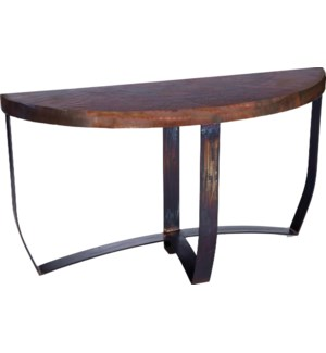 Demi Lune Strap Console Table with Dark Brown Hammered Copper Top