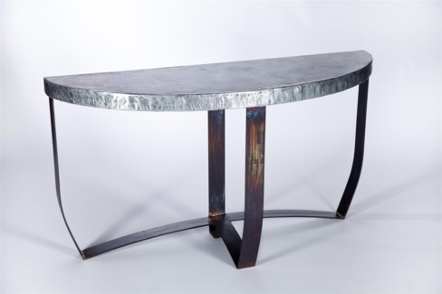 Demi Lune Strap Console Table with Hammered Zinc Top