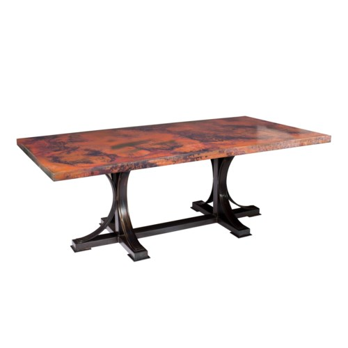 "Winston Dining Table with 72"" x 44"" Oval Hammered Copper Top"