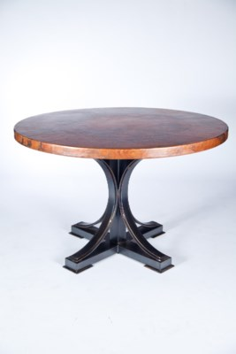 """Winston Dining Table with 48"""" Round Hammered Copper Top"""