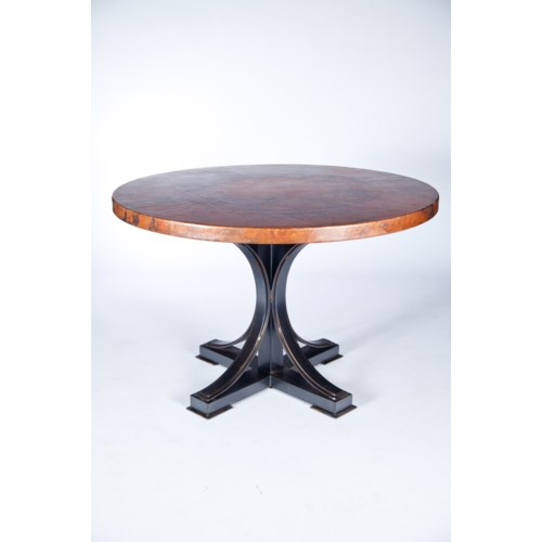 """""""Winston Dining Table with 48"""""""" Round Hammered Copper Top"""""""