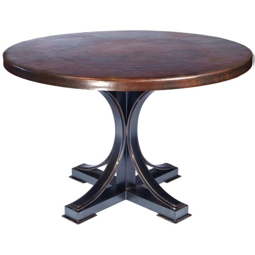 """""""Winston Dining Table with 48"""""""" Round Dark Brown Hammered Copper Top"""""""