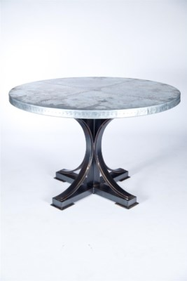 """""""Winston Dining Table with 48"""""""" Round Hammered Zinc Top"""""""