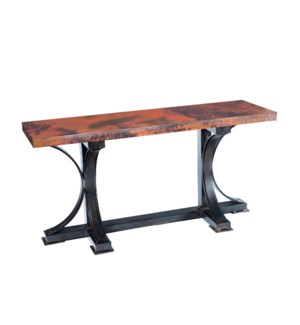 Winston Console Table with Rectangle Hammered Copper Top