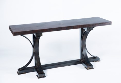 Winston Console Table with Rectangle Dark Brown Hammered Copper Top