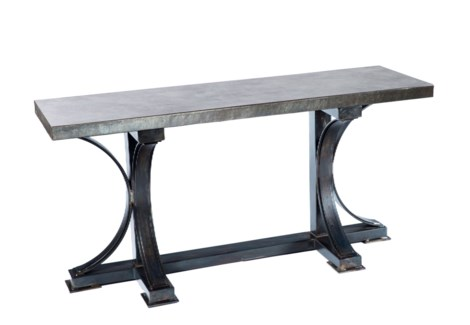 Winston Console Table with Rectangle Hammered Zinc Top