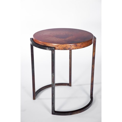 Round End Table With Hammered Copper Top
