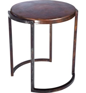 Round End Table with Dark Brown Hammered Copper Top