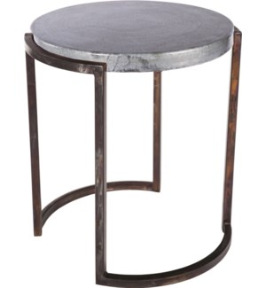 Round End Table with Hammered Zinc Top