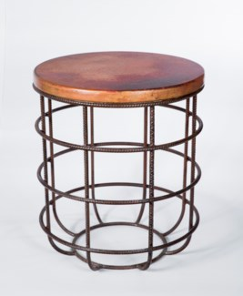 Axel Side Table in Rebar with Round Hammered Copper Top
