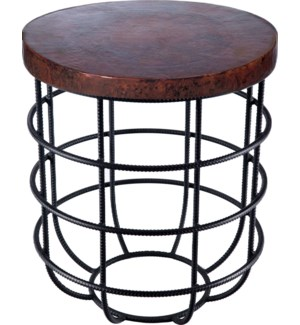 Axel Side Table in Rebar with Round Dark Brown Hammered Copper Top