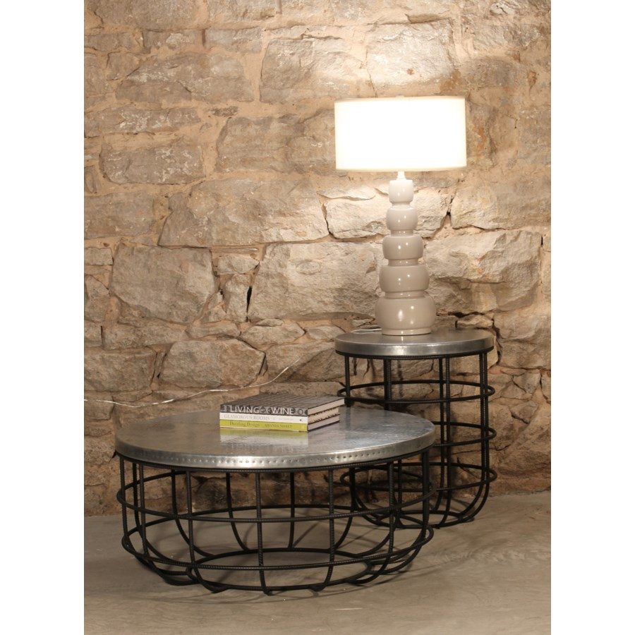 Axel Coffee Table in Rebar with Round Hammered Zinc Top
