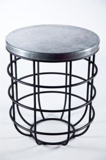Axel Side Table in Rebar with Round Hammered Zinc Top