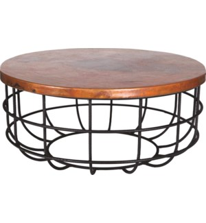 Axel Coffee Table in Rebar with Round Hammered Copper Top
