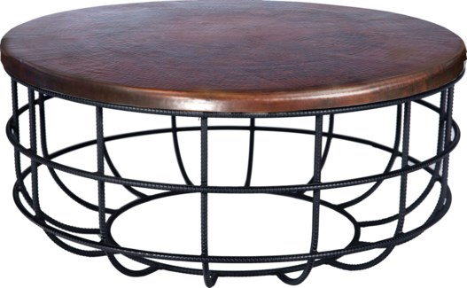 Axel Coffee Table in Rebar with Round Dark Brown Hammered Copper Top