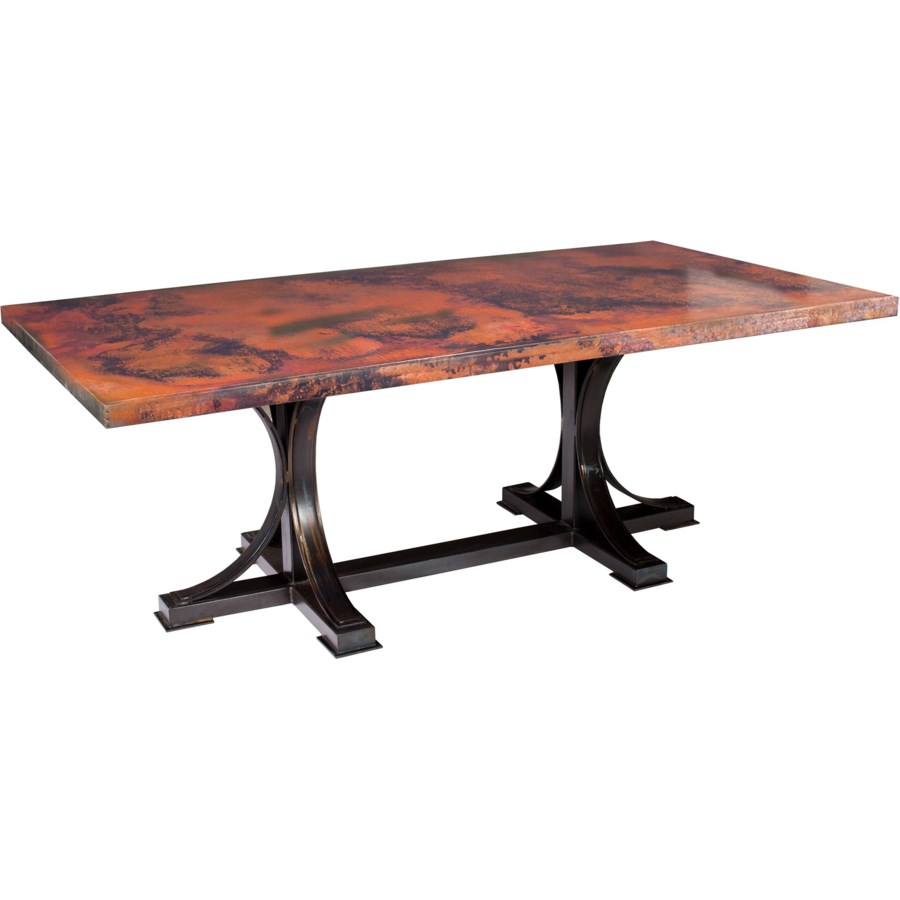 "Winston Rectangle Dining Table with 96"" x 44"" Rectangle Hammered Copper Top"