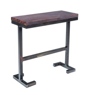 Bullock Accent Table with Dark Brown Hammered Copper Top