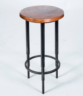 Nolan Accent Table with Natural Hammered Copper Top