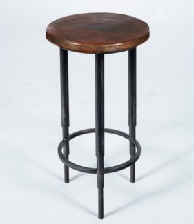 Nolan Accent Table with Dark Brown Hammered Copper Top