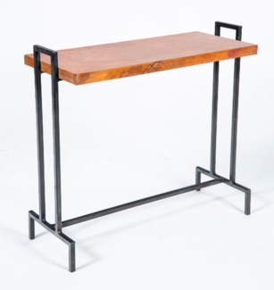 Slim Rectangle Accent Table with Natural Hammered Copper Top