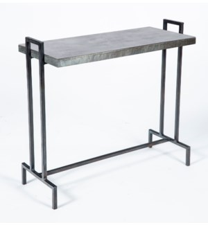 Slim Rectangle Accent Table with Hammered Zinc Top