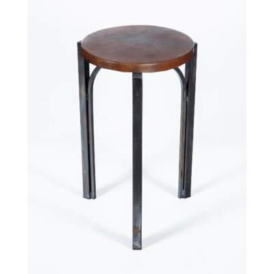 Preston Accent Table with Dark Brown Hammered Copper Top