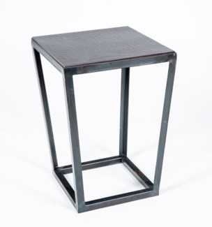 Tucker Accent Table with Dark Brown Hammered Copper Top