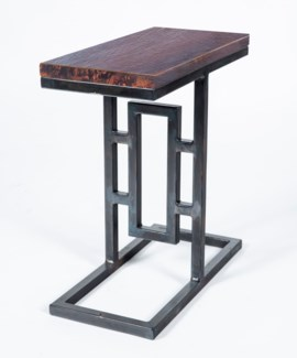 Felix Accent Table with Dark Brown Hammered Copper Top