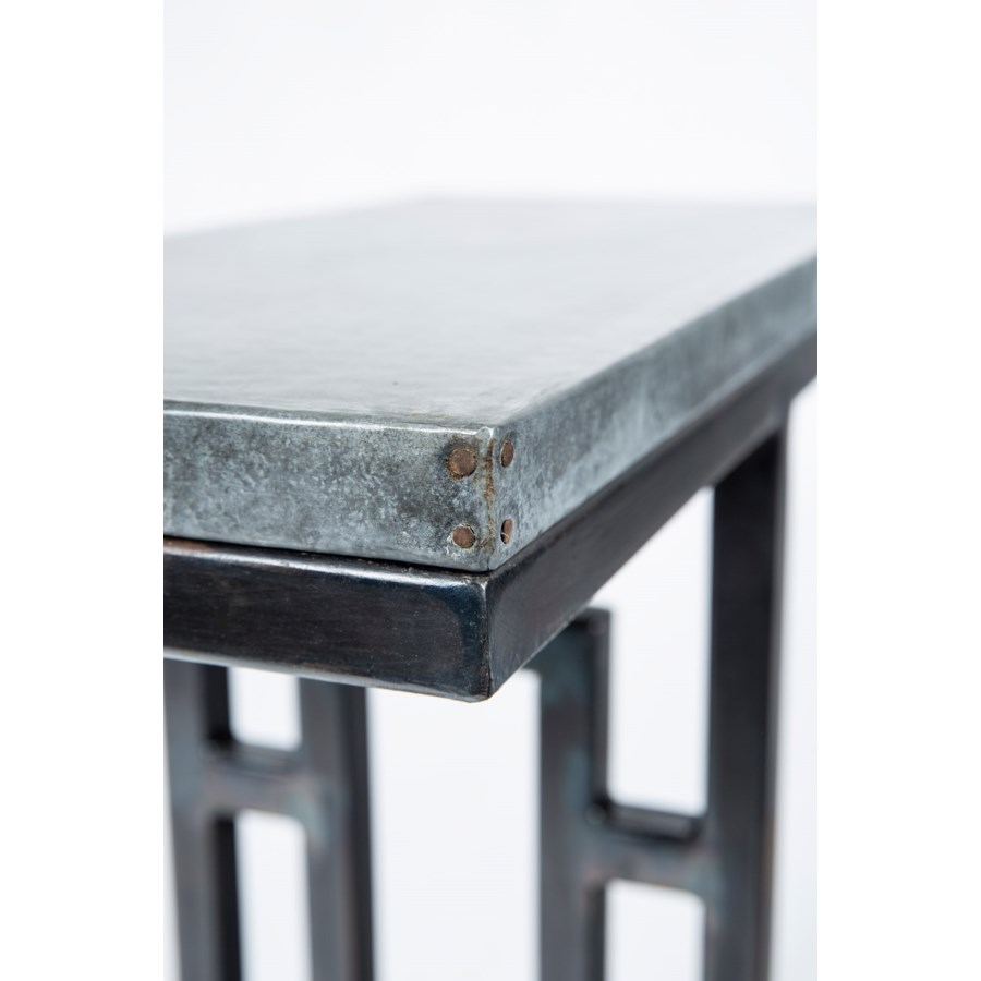 Felix Accent Table with Hammered Zinc Top