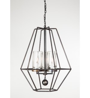 Yasmin Pendant Light with 3 Glass Hurricanes & 3 Feet of Chain