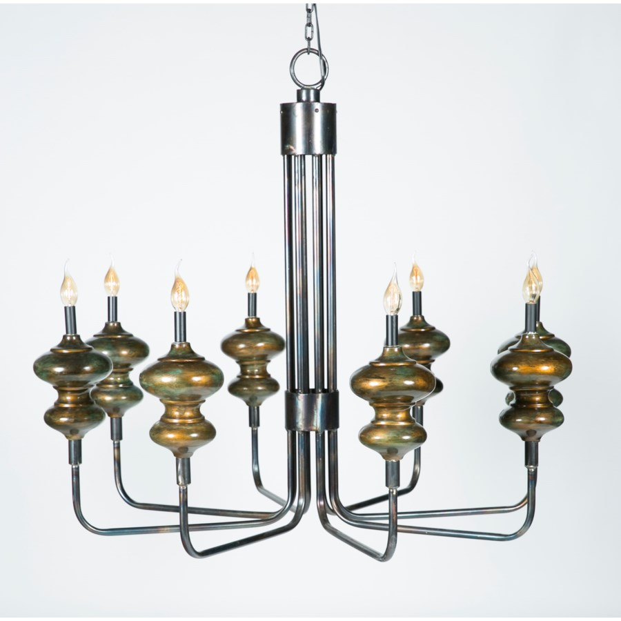 Bordeaux 8 Arm Chandelier with Clay Accent