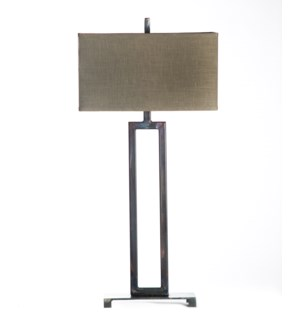 Lucas Rectangular Iron Lamp Table Lamp with Rectangle Grey/Gold Shade