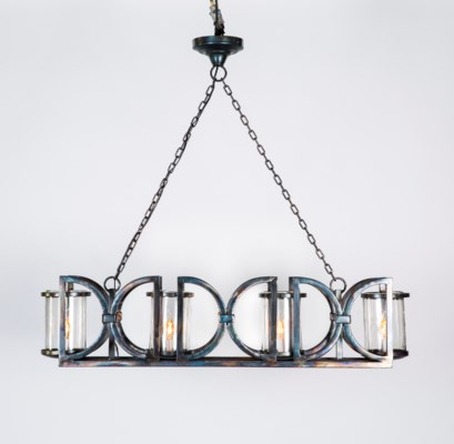 Lancaster Linear 4 Light  Chandelier with Clear Hurricanes