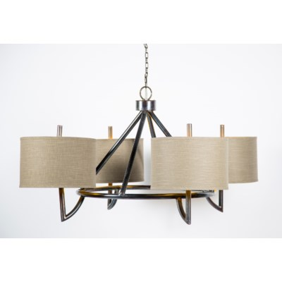 "Veronica Iron Chandelier with 4 Grey/Gold 15"" Drum Shades and 4 Feet of Chain"