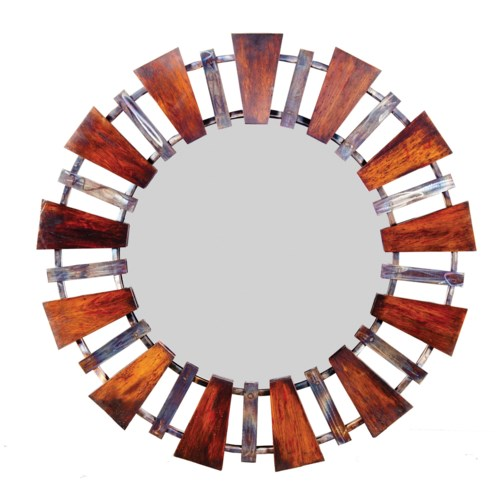 Round Iron Mirror with Wood Wedges