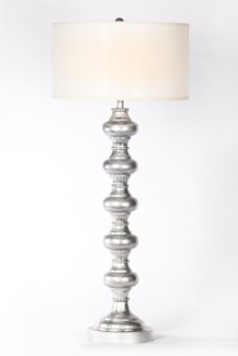 "Turned Metal Lamp in Silver Leaf Finish with White 18"" Drum Shade"