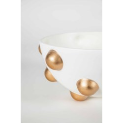 Bowl in Bianca w/ Gold Dots